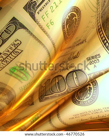 Silky smooth and glowing money abstract background illustration - stock photo