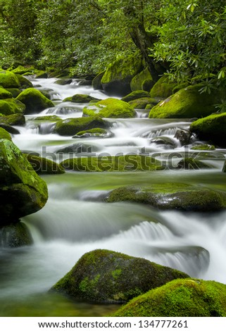 Silky water cascading over bright green moss-covered boulders in a Tennessee stream - stock photo