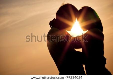 sillhouette couple love - stock photo
