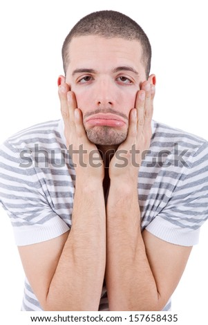 silly bored casual man portrait, isolated on white - stock photo