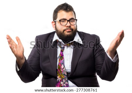 Silly business against white background - stock photo