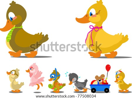 Silly cartoon family of ducks