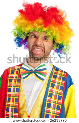 silly clown making a face isolated on white