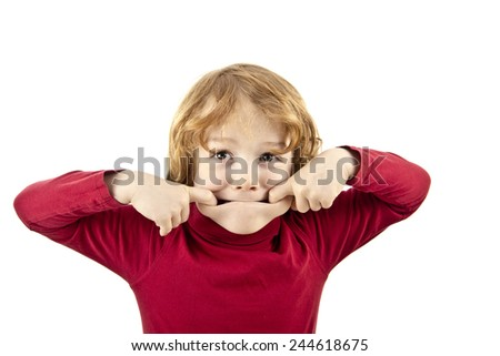 silly face child isolated white background - stock photo