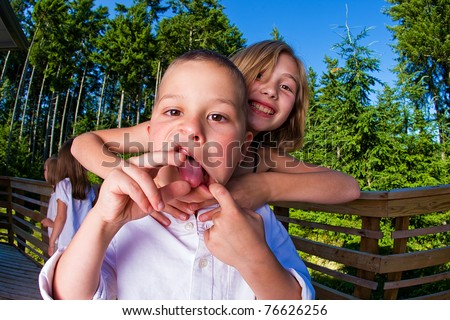 silly kids - stock photo