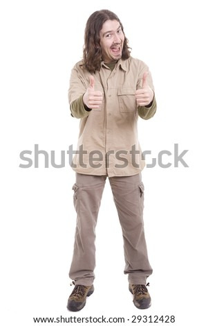 Silly man showing thumbs up, isolated over white background