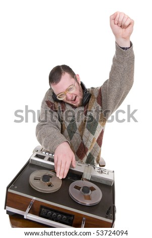 silly nerd as a dj over white background