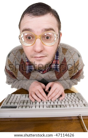 silly nerd with keyboard. over white background