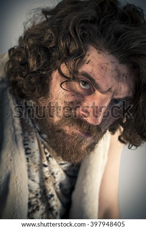 Silly realistic caveman with