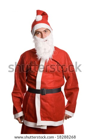 silly santa claus isolated on white background - stock photo