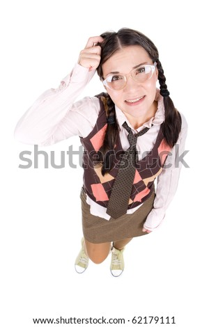 silly young adult woman . over white background