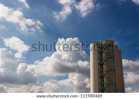 Silo on blue sky - stock photo