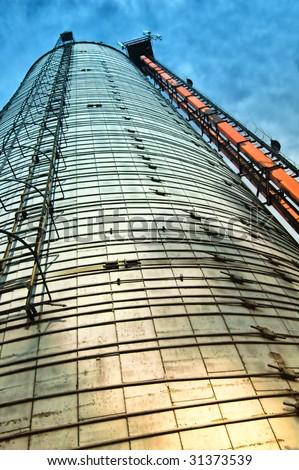 silo with sky - stock photo