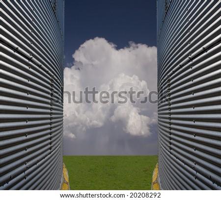 Silos and landscape - stock photo