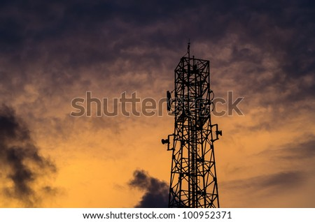 silouette communications Tower and sky in the evening