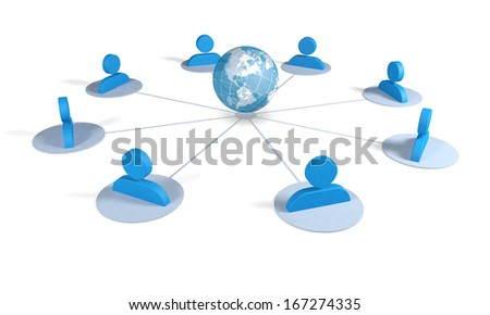 Silouette of men connected together to form a global network, with connections to the planet earth