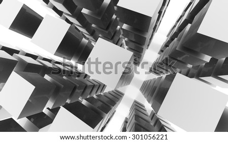 Silver abstract cubes background rendered on white background - stock photo