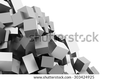 Silver abstract geometric cubes background rendered