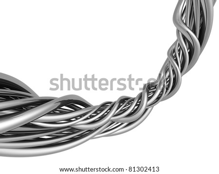 Silver abstract string wire artwork background - stock photo