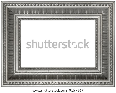 Silver Aged Vintage Picture Frame - Isolated on White - stock photo