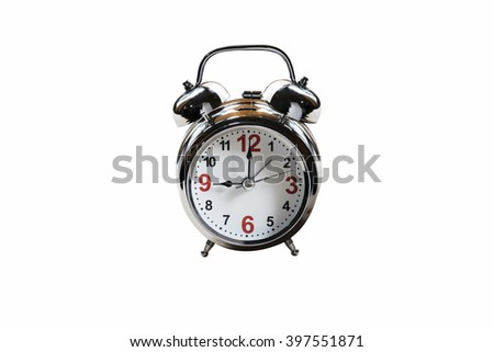 Silver alarm clock isolated on white background. - stock photo