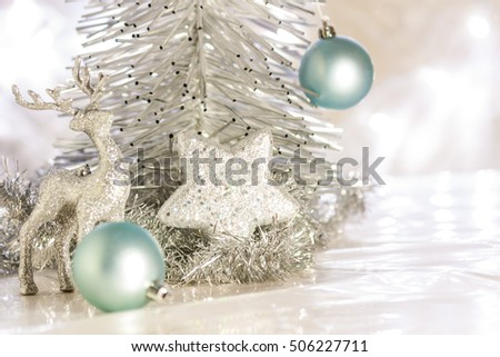 Silver and blue  Christmas Theme. Xmas star,tree,deer