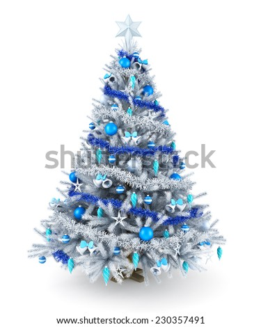 Silver and blue Christmas tree - stock photo