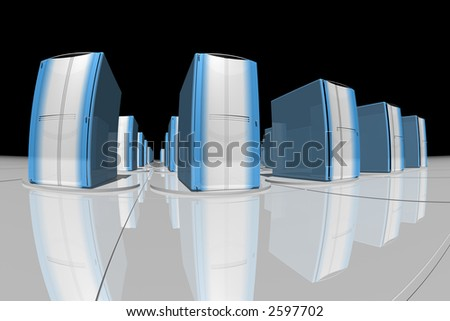 silver and blue computer-like rendered objects - stock photo