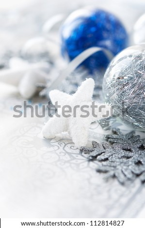 Silver and blue xmas decoration. Merry christmas.