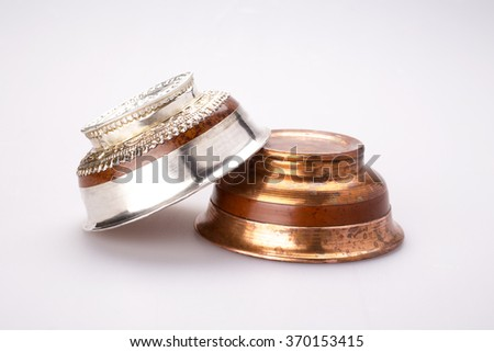 Silver and copper tea cups for mongolian salt tea