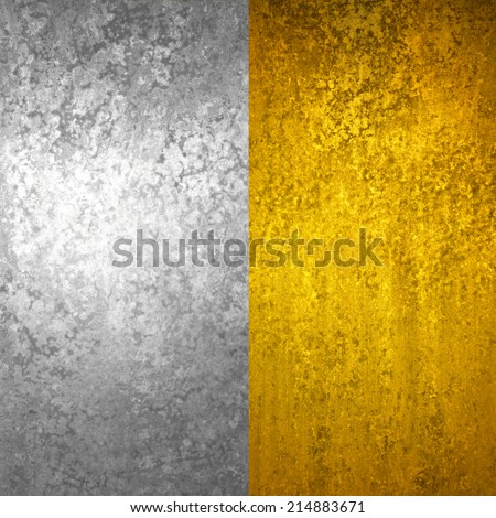 silver and gold background graphic art textures, gold foil and silver foil sidebar panels - stock photo