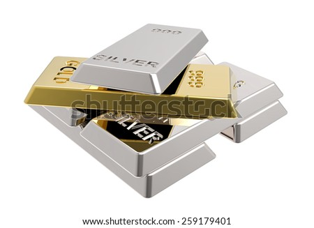 Silver and gold bars. Computer generated 3D photo rendering. - stock photo