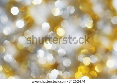Silver and gold christmas lights background