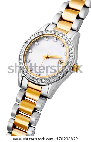 Silver and gold exclusive watch isolated on white background - stock photo