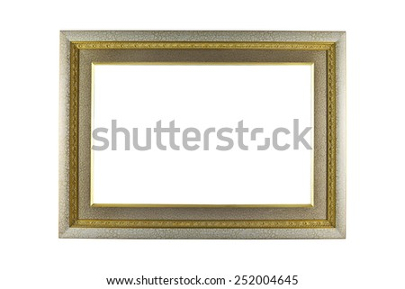 Silver and Gold Frame isolated on white background. - stock photo