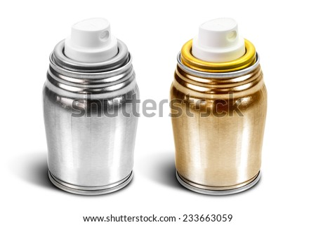 Silver and gold mini spray can isolated on white background - stock photo