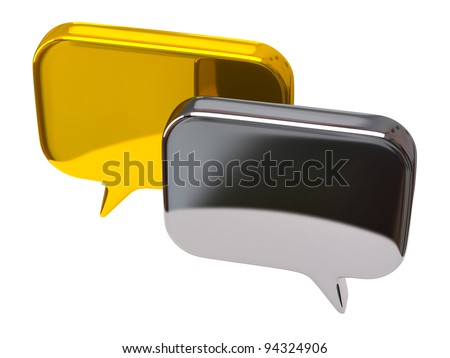 Silver and golden bubble chat icon - stock photo