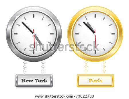 Silver and golden clocks showing time in New York and Paris - different time zones - raster version of vector ID 73028926 - stock photo