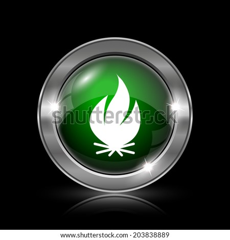 Silver and green glossy icon on black background. - stock photo