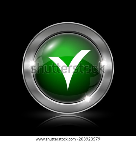 Silver and green glossy icon on black background.