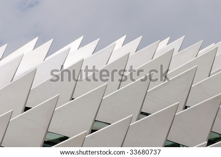 Silver and metallic sharp edges on a roof