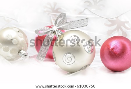 Silver and pink Christmas ball baubles with silver decoration - stock photo