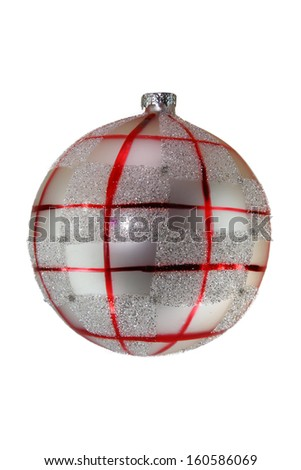 silver and red christmas ball tree isolated on white background