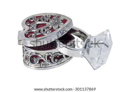 Silver and red Intricate Heart Box and Diamond Engagement Ring - path included - stock photo
