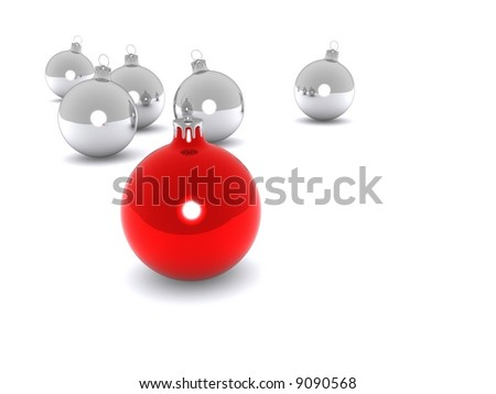 Silver and red polished metal christmas tree decorations