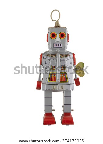Silver and red vintage tin robot isolated on white