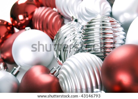 Silver and red  xmas balls isolated on white