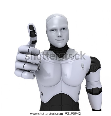 Silver android robot with thumb up smiling 3d illustration on white - stock photo