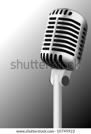 Silver antique microphone illustration