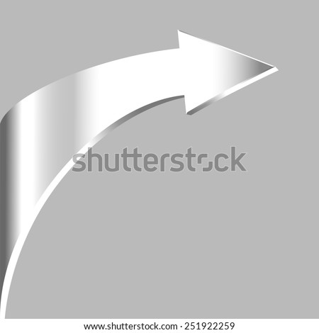 Silver arrow and neutral grey background - stock photo